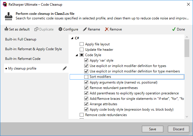 ReSharper. Code Cleanup dialog