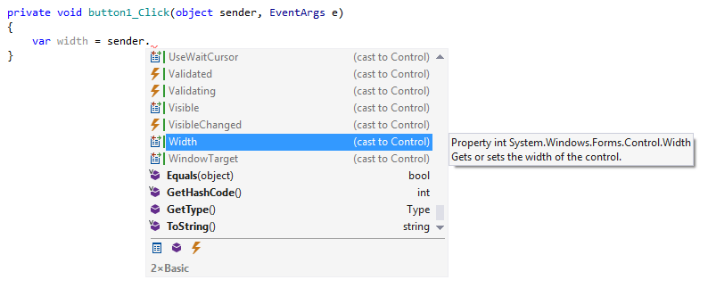 Casting the 'sender' argument to a desired type using ReSharper's code completion