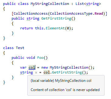 Using JetBrains Rider code annotation to improve code analysis of collection access