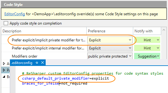 Code style options overridden by EditorConfig styles