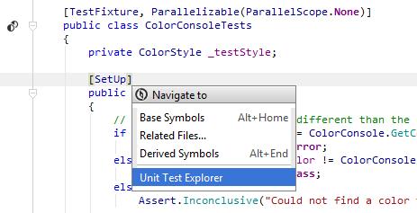 ReSharper: Locating a test in the Unit Test Explorer
