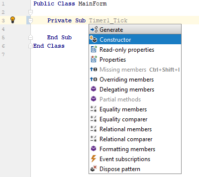 ReSharper: Generate members in VB.NET