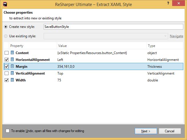ReSharper: Extract XAML Style refactoring