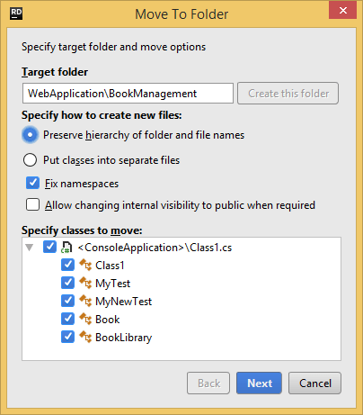 ReSharper. Move to Folder refactoring