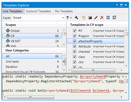 Reference Templates Explorer Live Templates