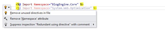 ReSharper: 'Remove unused directives in file' quick-fix in ASP.NET