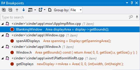 ReSharper breakpoints window