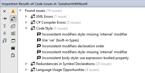 Code syntax style issues found in a solution