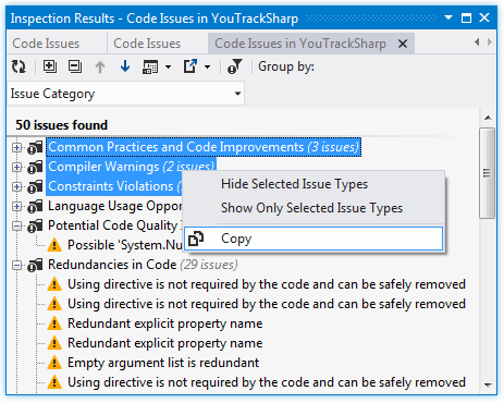 Copying found code issues to the clipboard