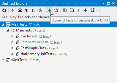 dotCover: Code coverage in Unit Test Sessions window