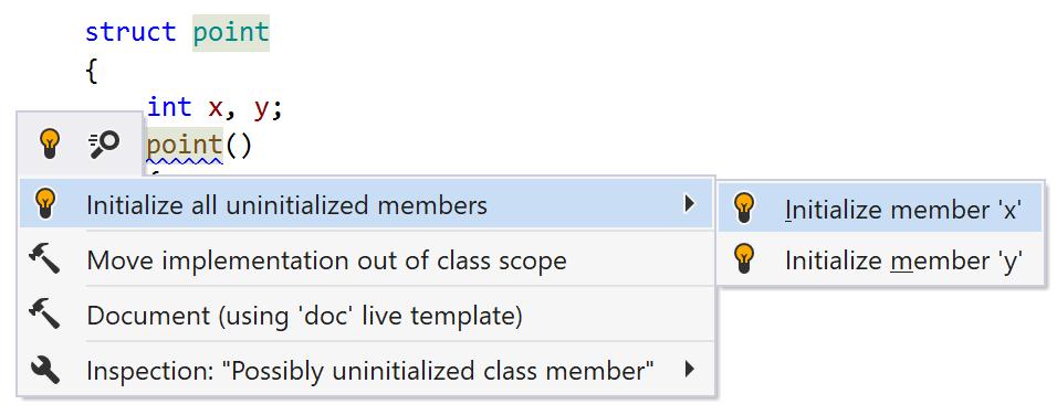 ReSharper C++: quick-fix to initialize members