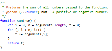 Highlighting of JSDoc comments