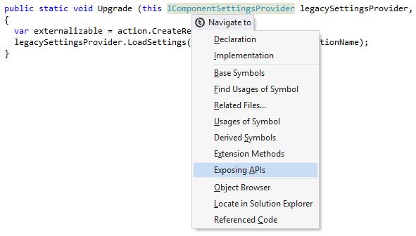 ReSharper: Navigating to exposing APIs of a symbol