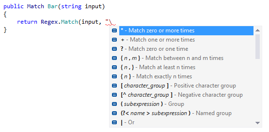Code completion in regular expressions