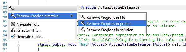 Removing region/endregion directives in the whole solution