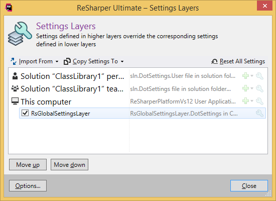 ReSharper. 'Setting Layers' dialog