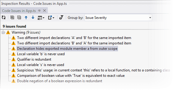 ReSharper: Inspecting TypeScript issues in specific scope