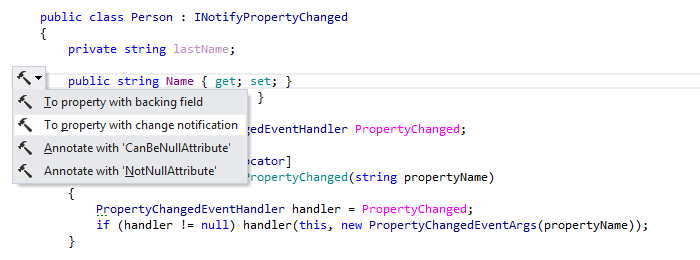 ReSharper: INotifyPropertyChanged support