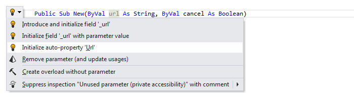 JetBrains Rider: Visual Basic support. Initialize auto-property from constructor parameter