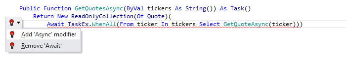 JetBrains Rider: Visual Basic support. Add 'Async' modifier quick-fix