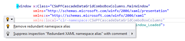 JetBrains Rider: Remove redundant namespace alias quick-fix in XAML