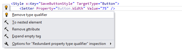 JetBrains Rider: Remove type qualifier quick-fix in XAML