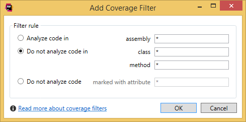 dotCover: Add/Edit Coverage Filter dialog