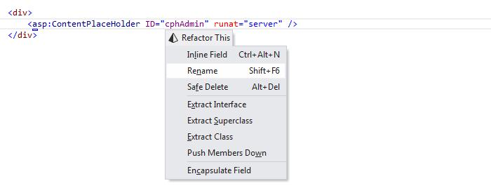 ReSharper: Rename refactoring in ASP.NET