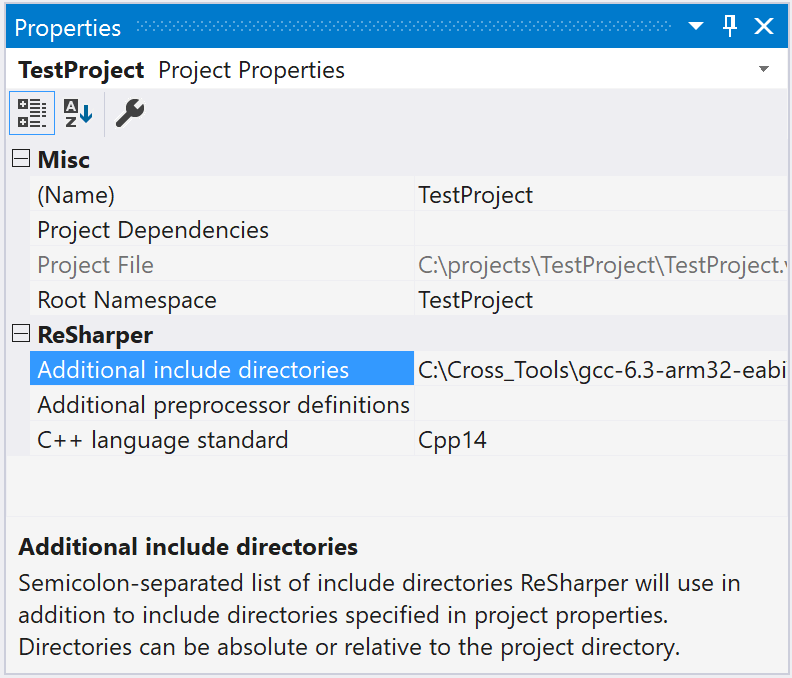 ReSharper C++: additional project properties