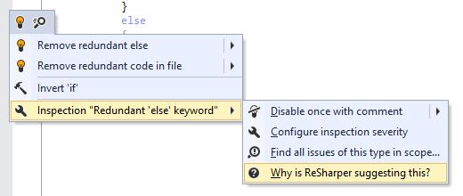 ReSharper: Code inspection options in Alt+Enter menu