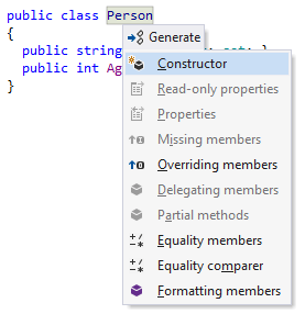 ReSharper: Generate constructor
