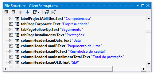 File structure for a .RESX file