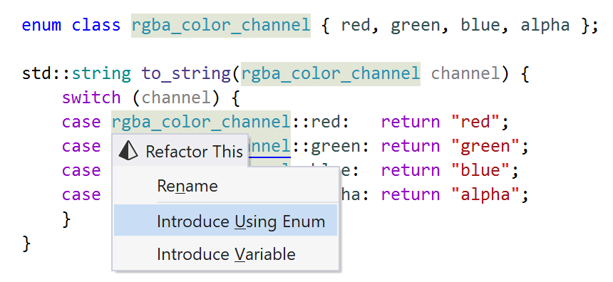 ReSharper: Introduce Using Enum