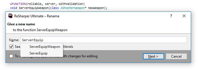 ReSharper C++: UE4. refactoring RPC function calls
