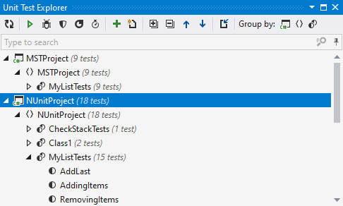 Unit Test Explorer displays tests from the entire solution