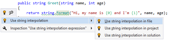 ReSharper: Converting a usage of String.Format into string interpolation