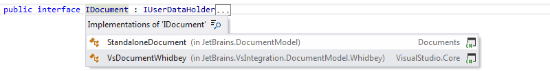 JetBrains Rider: Go to implementation. Drop-down list