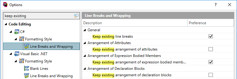 ReSharper: keep existing formatting for selected rules