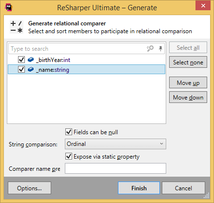 Generating a relational comparer class with ReSharper