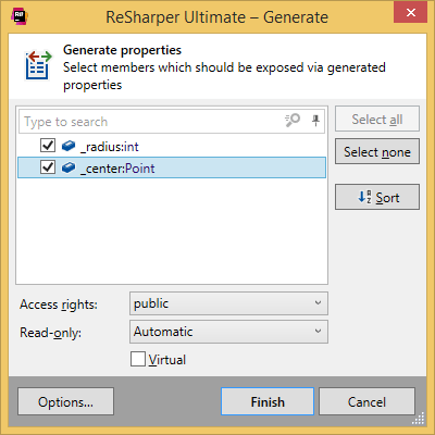 Generating properties with ReSharper