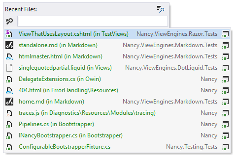 Navigating to files that you have opened recently