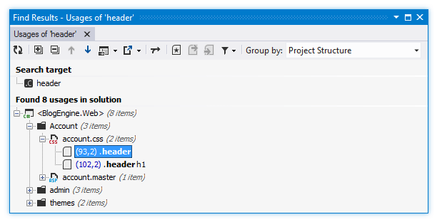 ReSharper: Finding usages of a CSS selector