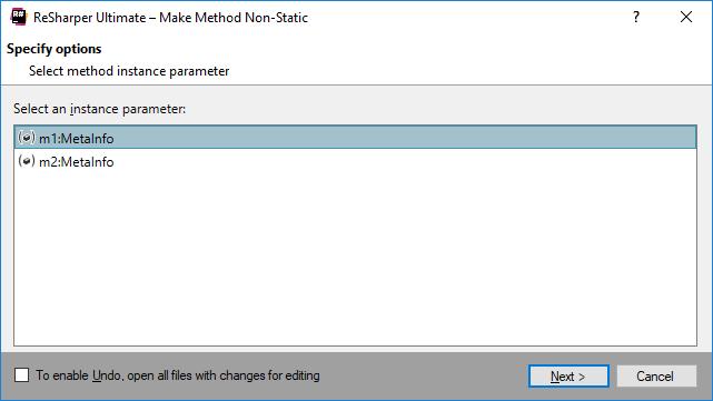 ReSharper: Make method non-static refactoring