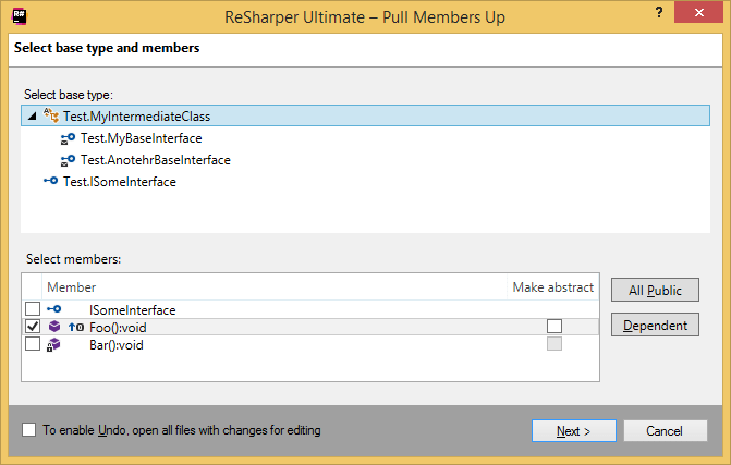 ReSharper. Pull Members Up refactoring