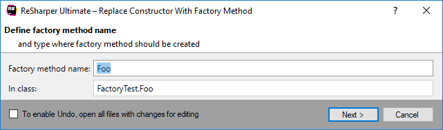 ReSharper. Replace Constructor with Factory Method refactoring