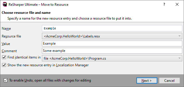 ReSharper 'Move to Resource' refactoring