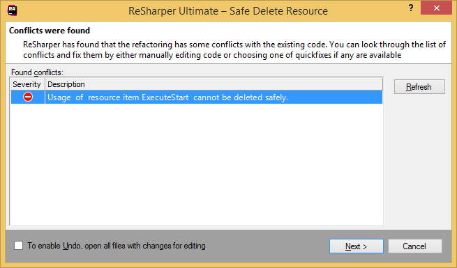 ReSharper: Safe Delete resource. Conflicts