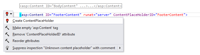 ReSharper: 'Create ContentPlaceholder' quick-fix in ASP.NET