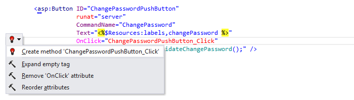 ReSharper: 'Create method' quick-fix in ASP.NET