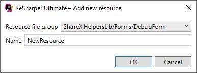 ReSharper: Add new resource dialog